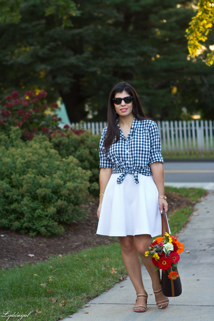 gingham knotted button down, white skirt, tote bag-2.jpg