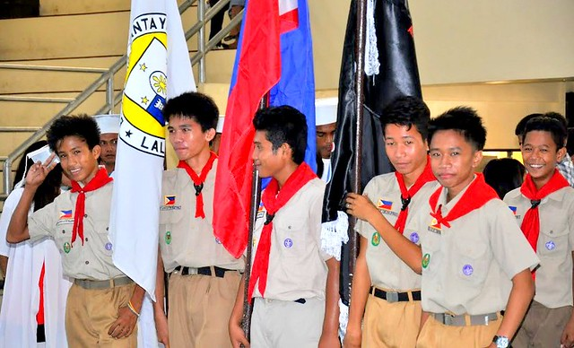 Local boy scouts in the newly-rehabilitated Bantayan Civic Center