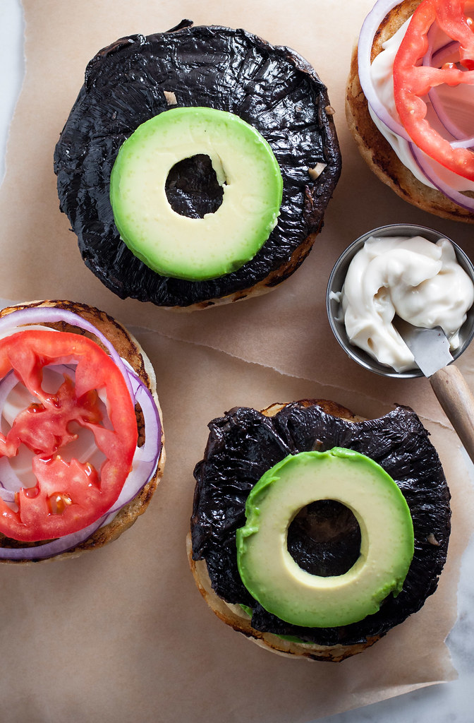 Portobello California burgers with all the avocado