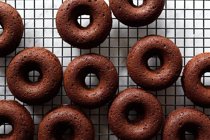 Baked Banana Chocolate Doughnuts via forkknifeswoon.com