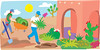 new york times.  nancy doniger illustration for 5-23-07 article titled 'low-maintenance yards' by chico945