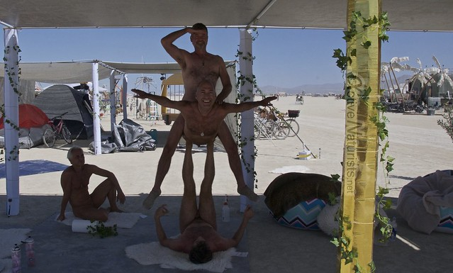 naturist acro-yoga gymnasium 0000 Burning Man 2015, Black Rock City, Nevada, USA