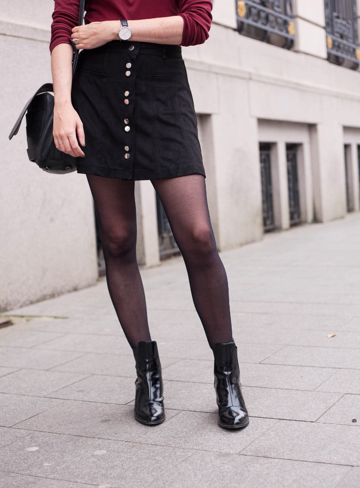 outfit: button down skirt and patent chelsea boots