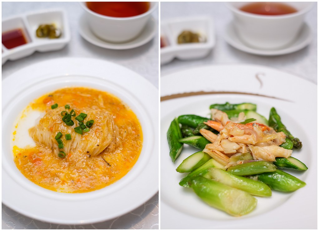 Yan Ting Restaurant: egg white with rich crab roe sauce & stir fried crab claw with asparagus and steamed amoy vermicelli in Chinese wine and egg White