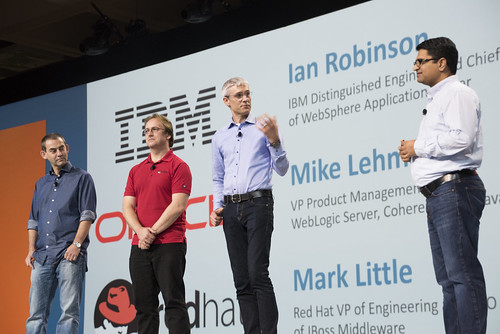 Ian Robinson, Mark Little, Mike Lehmann and Anil Gaur, Java Keynote, JavaOne 2015 San Francisco