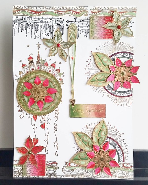 My finished Christmas piece from the workshop I did on saturday at Posthumus Amsterdam. Layout design by Miranda Degenaars and stamps used are mostly from @zenspirations Impression Obsession. #rubberstampart #zenspirations #rubberstamping #tombowmarkers #