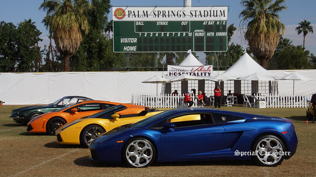 Lamborghini line up on the field at the Palm Spring Stadium