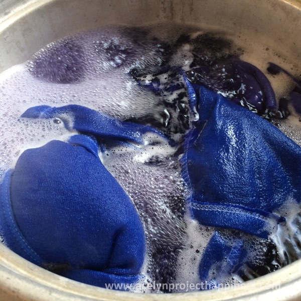 dyeing white onesie to blue for the peacock costume