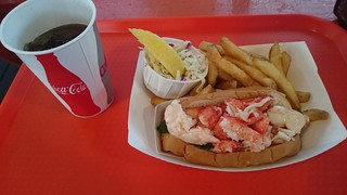 A lobster roll and French fries