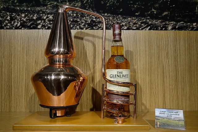 221-20160726_The Glenlivet Distillery-Banffshire-Visitor Centre-display of model whisky still and bottle of malt whisky