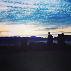 Sun setting over Lochnagar from Tomnavarie Stone Circle