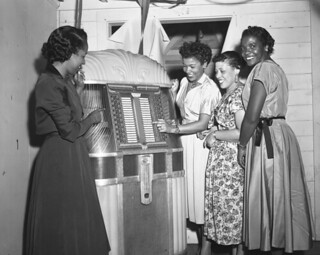 Women at the jukebox during New Year's Eve party in Tallahassee