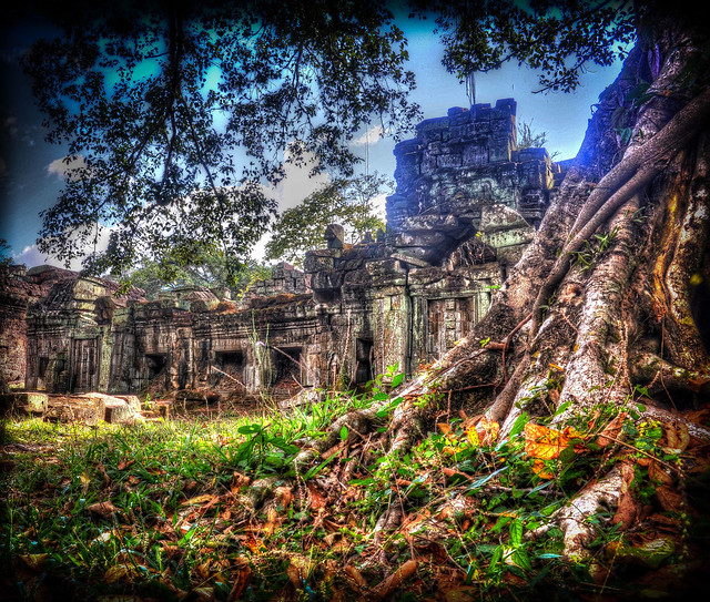 HDR rendition of some beautiful old crumbling buildings in the Ankor Wat complex