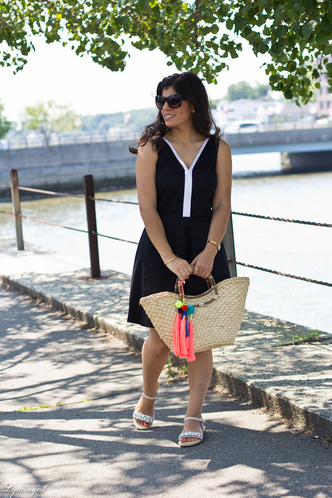 black and white dress, straw tote, jeweled sandals-1.jpg