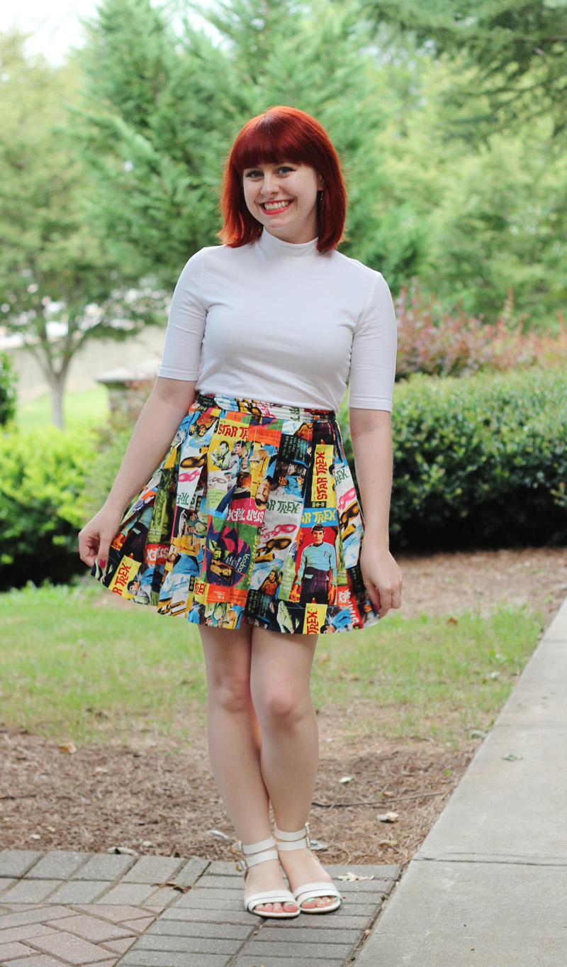 Handmade Colorful Star Trek Print Skirt with a White Mock Neck Shirt and White Sandals