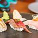 Tenshi ebi (angel prawn, yuzu ginger marinade), Tuna zuke (soy-marinated tuna, pickled turnips), Ishi dai (striped beakfish) by luyaozers