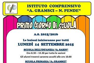 Noicattaro. Inizio scuola Gramsci-Pende 2015 front