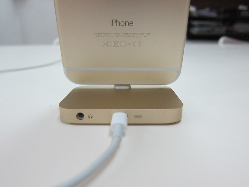 Apple iPhone Lightning Dock (Gold) - With iPhone 6 Plus (Gold) - Back