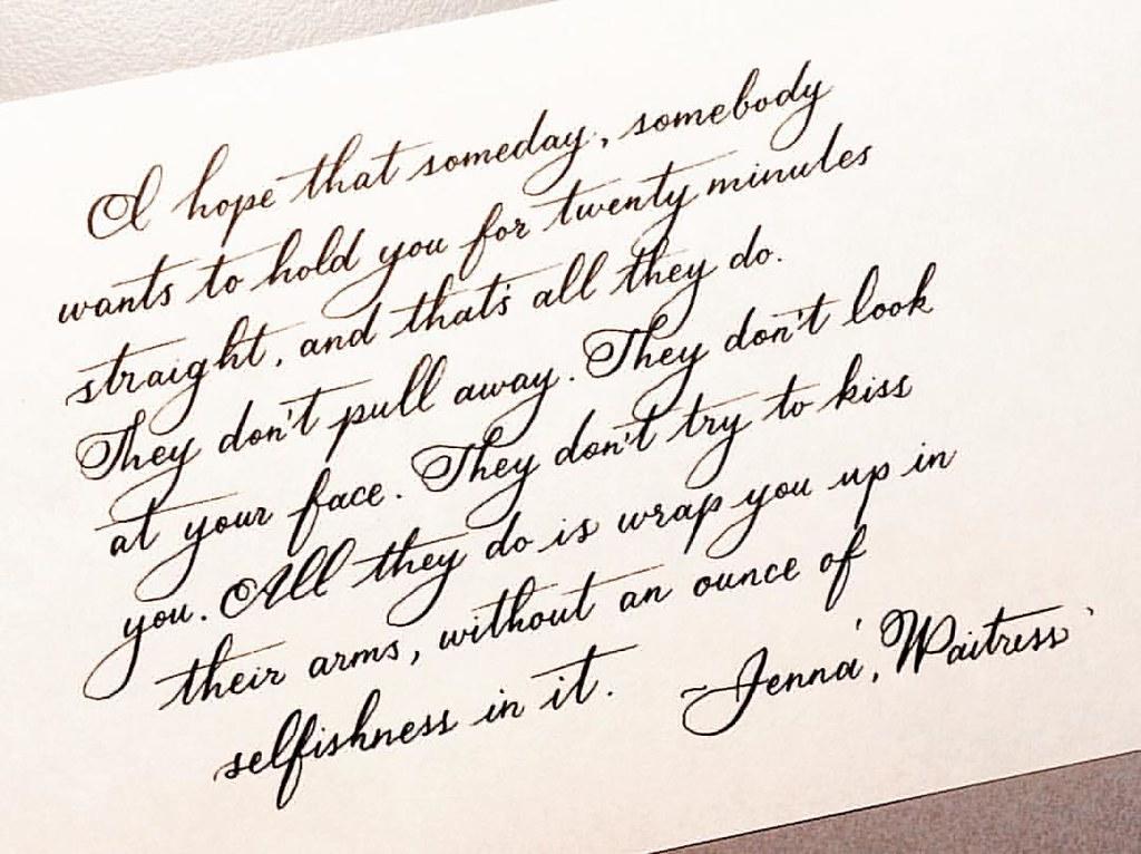 Rewritten In Spencerian Jennawaitress Quote Love Hold Hug