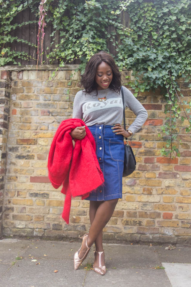 Boden 70s button up denim St Martins Skirt