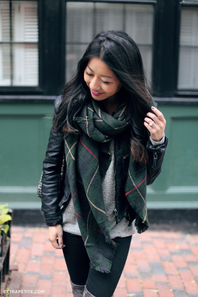 casual outfit boots plaid scarf moto jacket