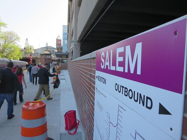 Salem MBTA Massachusetts Bay Transportation Authority train station in New England, USA