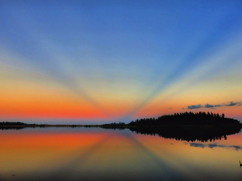 Mirrored sunrise over lake HDR 20151103
