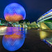 A Monorail's Reflection of Spaceship Earth