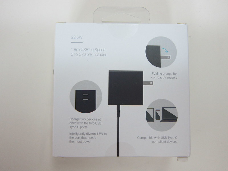 Google Universal 22.5W Dual Port USB Type-C Charger - Box Back