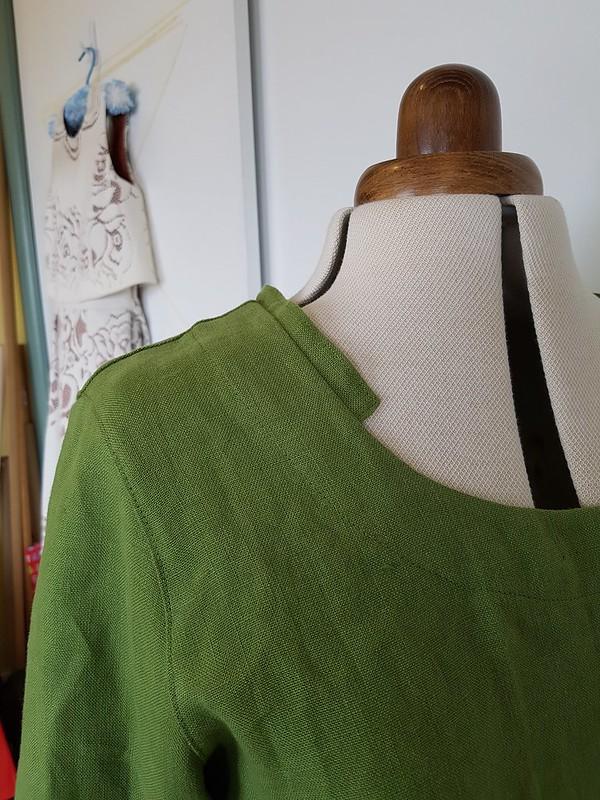 Side-buttoned jacket in linen