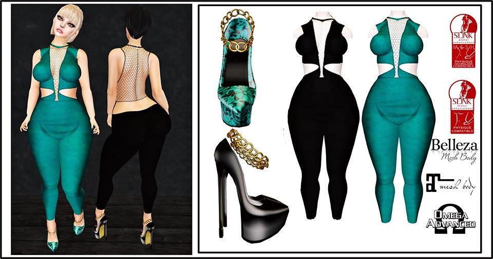 Outfit Naore Black and Green - SecondLifeHub.com