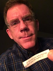 Paul with fake news fortune cookie, Washington, D.C.
