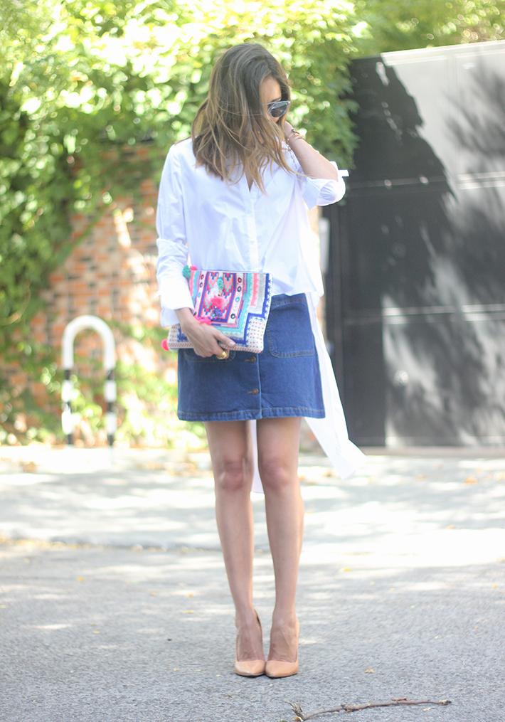 Long Shirt With Denim Skirt Summer Outfit 11