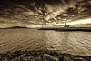 Howth Harbour Lighthouse at Dawn - Sepia