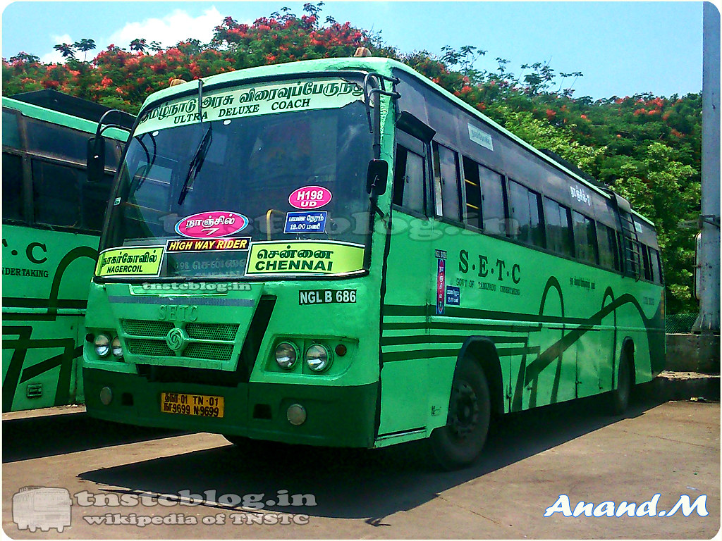 TN-01N-9699 NGL B 686 Nanjil 7 of Nagercoil Depot Route H198 Nagercoil - Chennai via Tirunelveli, Madurai.