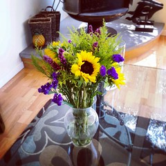 Beach house owner put fresh flowers out for us