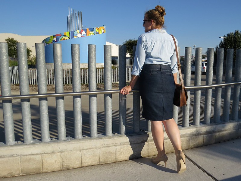 Denim Pencil Skirt - After