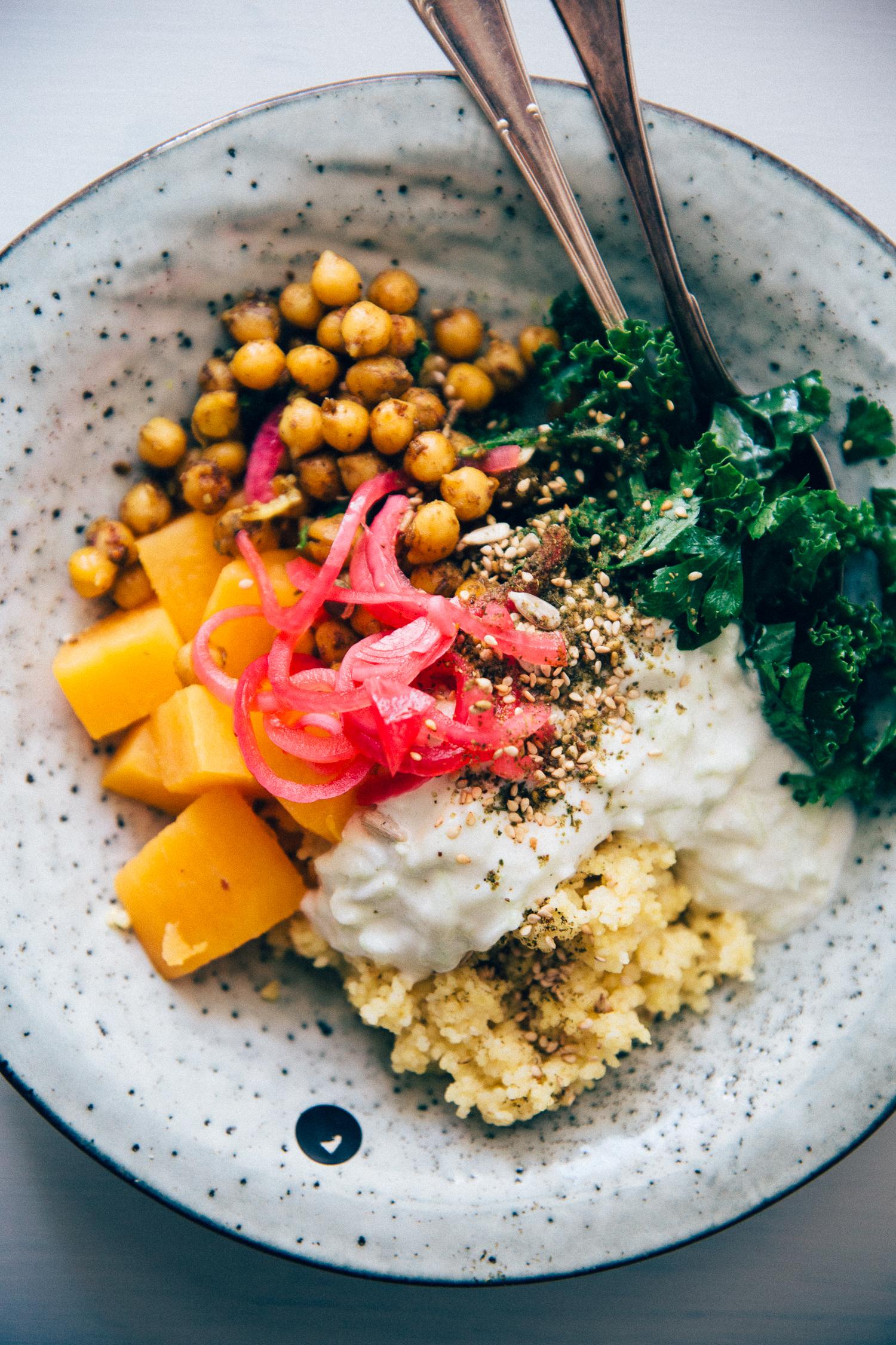 Hippie Bowl with Spicy Chickpea, Millet & Sweet Potato | Cashew Kitchen