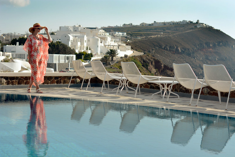 Imerovigli, Santorini: Full length floral kaftan, wide-brimmed hat | Not Dressed As Lamb