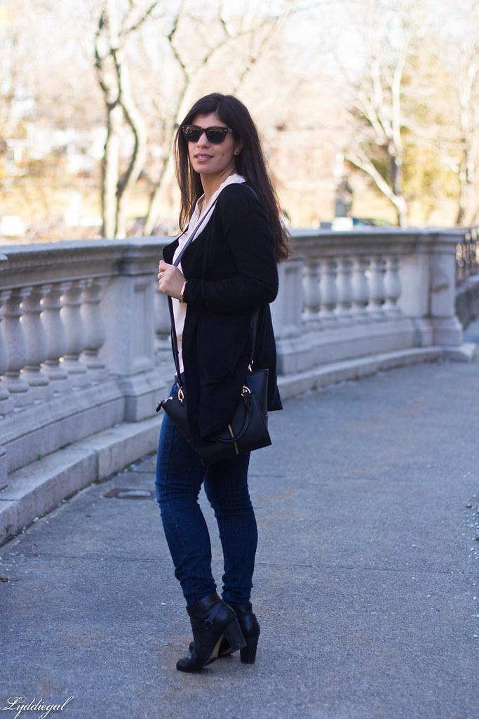 pink silk blouse, jeans, black cardigan, booties-5.jpg