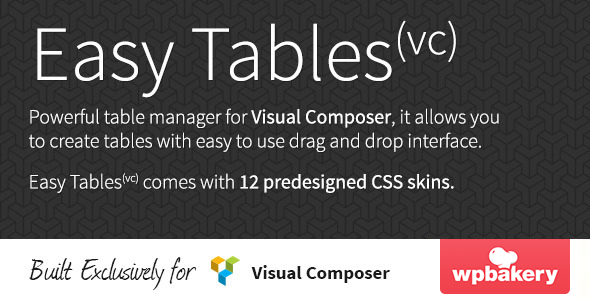 CodeCanyon Easy Tables v1.0.8 - Table Manager for Visual Composer