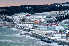 Percé Village under snow after the sunset