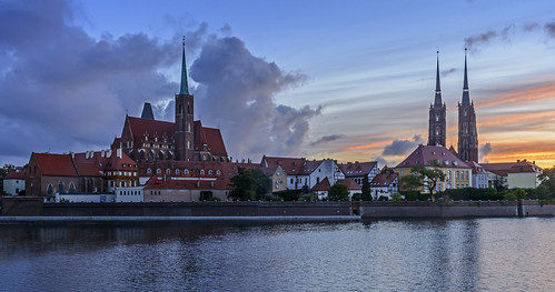 church water sunrise river cathedral poland wroclaw oder