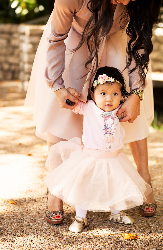 cute & little blog | petite fashion | blisstulle baby girl blush pink tulle skirt, freshly picked mocassins | mommy and me holiday outfit