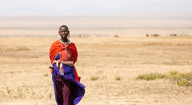 Maasai mother and son, close to Serengeti national park, Tanzania