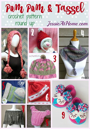 Pom Pom & Tassel free crochet pattern round up from Jessie At Home