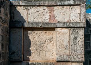Chichen Itzá közelében San Felipe Nuevo képe. 2017 mexico yucatan january winter mayan chichenitza ruins mexique estadosunidosmexicanos platformofeaglesandjaguars engraving mexiko 墨西哥