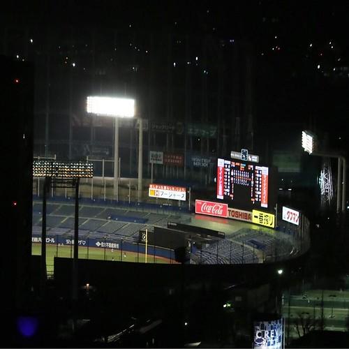 遠くに見える、野球場。