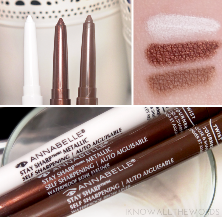 annabelle stay sharp metallic waterproof kohl in snow white and bronzey browliner in taupe