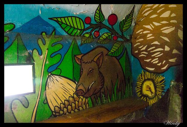 Grafiti jabalí en refugio de Majalavilla